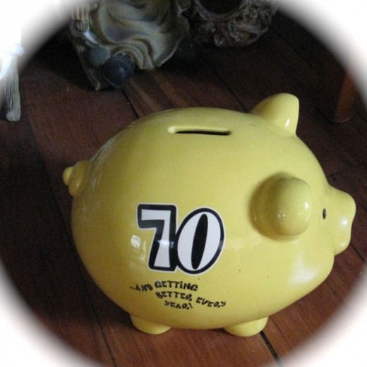 70 year old piggy bank